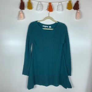 Eight Eight Eight Teal Scoop Neck Knit Sweater SM